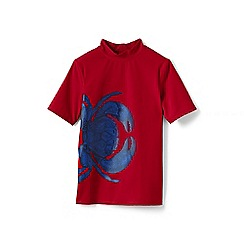 Lands' End - Red boys' short sleeve graphic rash guard top