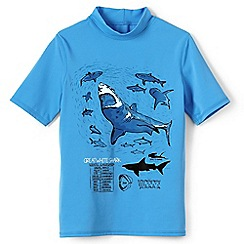 Lands' End - Blue boys' short sleeve graphic rash guard top