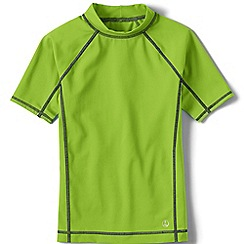 Lands' End - Boys' green short sleeve rash guard top