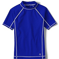 Lands' End - Boys' blue short sleeve rash guard top