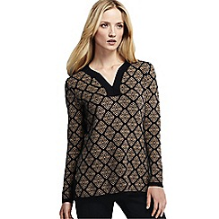 Lands' End - Brown women's fine gauge double jacquard tunic
