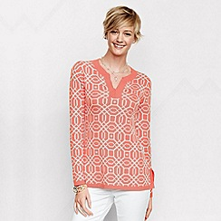 Lands' End - Orange women's regular fine gauge double jacquard tunic