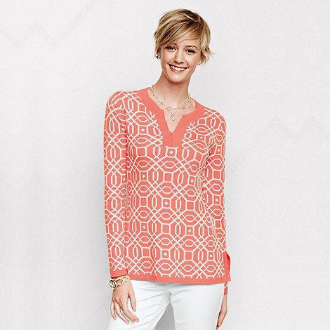 Lands+ End - Orange women+s regular fine gauge double jacquard tunic