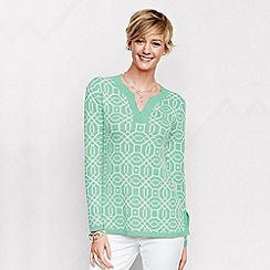 Lands' End - Green women's regular fine gauge double jacquard tunic