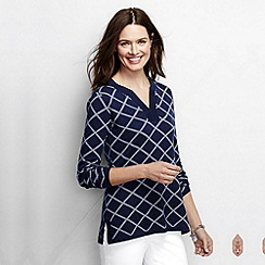 Lands' End - Blue women's regular fine gauge double jacquard tunic