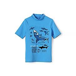 Lands' End - Boys Toddler Blue short sleeve graphic rash guard top