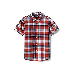 Lands' End - Boys' orange short sleeve poplin shirt