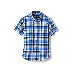Lands' End - Blue boys' short sleeve poplin shirt