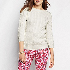 Lands' End - Cream women's three-quarter sleeve cable boatneck jumper