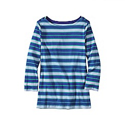 Lands' End - Blue three-quarter sleeve button boatneck tee