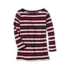 Lands' End - Red women's three-quarter sleeve button boatneck tee