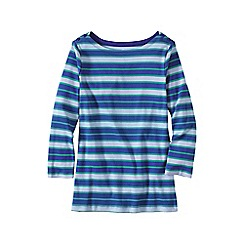 Lands' End - Blue petite three-quarter sleeve button boatneck tee