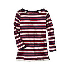 Lands' End - Red plus three-quarter sleeve button boatneck tee
