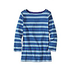 Lands' End - Blue plus three-quarter sleeve button boatneck tee