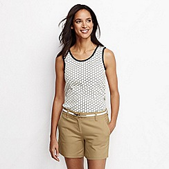 Lands' End - Cream women's regular patterned cotton vest top