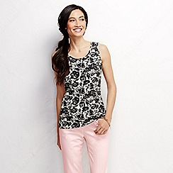 Lands' End - Black women's regular patterned cotton vest top