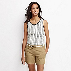 Lands' End - Cream women's petite patterned cotton vest top