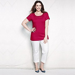 Lands' End - Red women's plus lace trim tee