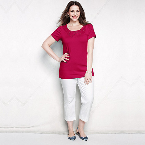 Lands+ End - Red women+s plus lace trim tee