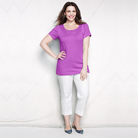 Lands+ End - Purple women+s plus lace trim tee