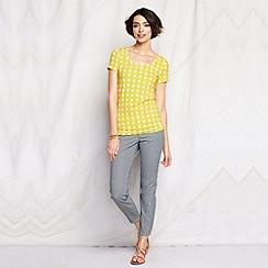 Lands' End - Yellow women's short sleeve pattern cotton/modal scoop neck