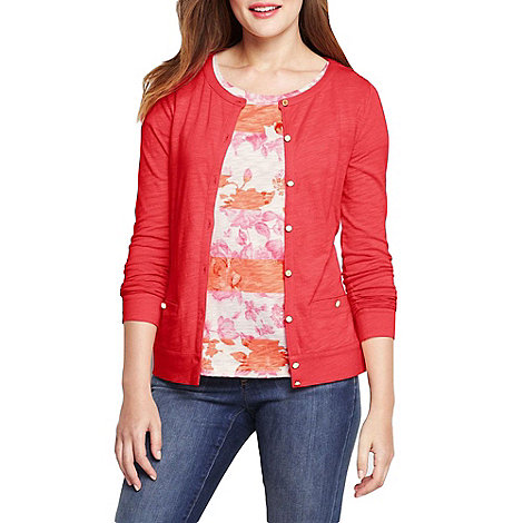 Lands+ End - Pink women+s lightweight slub cardigan