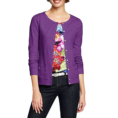 Lands+ End - Purple women+s lightweight slub cardigan