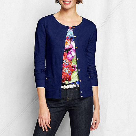 Lands+ End - Blue women+s lightweight slub cardigan