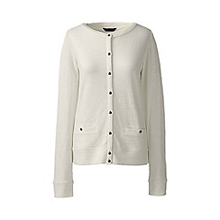 Lands' End - Plus size Cream plus lightweight slub cardigan
