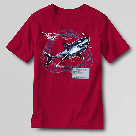 Lands+ End - Red boys+ short sleeve graphic tee