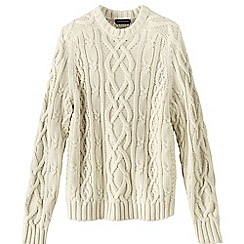 Lands' End - White men's regular drifter aran cable cotton sweater