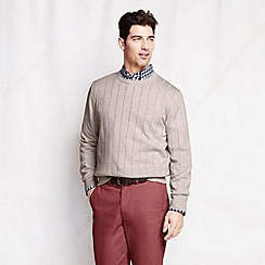 Lands' End - Beige spaced rib fine gauge jumper