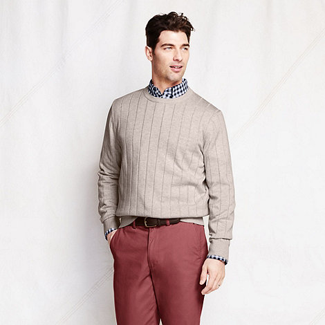Lands+ End - Beige spaced rib fine gauge jumper