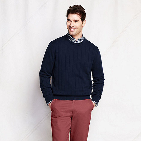 Lands+ End - Blue spaced rib fine gauge jumper