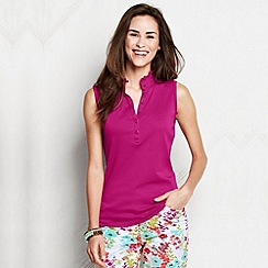 Lands' End - Pink women's regular sleeveless supima ruffle polo