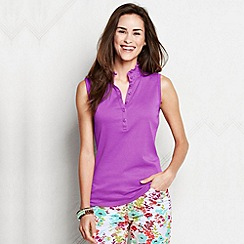 Lands' End - Purple women's regular sleeveless supima ruffle polo