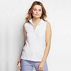 Lands' End - White women's regular sleeveless supima ruffle polo