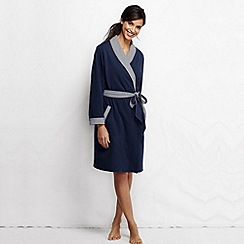 Lands' End - Blue women's reversible jersey dressing gown petite