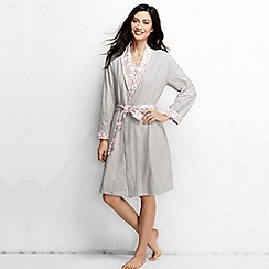 Lands' End - Pink women's reversible jersey dressing gown petite