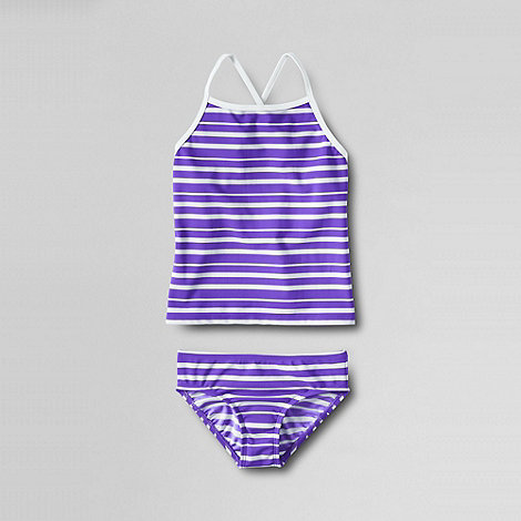 Lands+ End - Purple girls+ smart swim tankini set