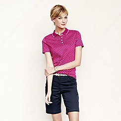 Lands' End - Pink women's short sleeve patterned tipped collar pima polo