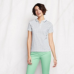 Lands' End - White women's short sleeve patterned tipped collar pima polo