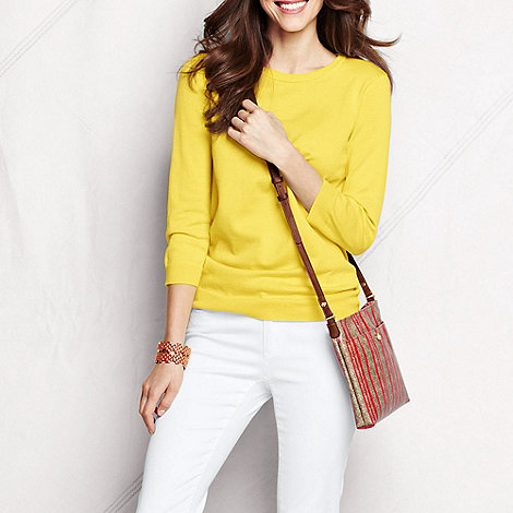 Lands+ End - Yellow women+s supima three-quarter sleeve crew neck jumper