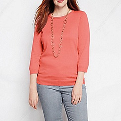 Lands' End - Pink women's plus supima three-quarter sleeve crew neck jumper