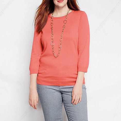 Lands+ End - Pink women+s plus supima three-quarter sleeve crew neck jumper