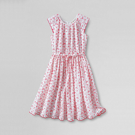 Lands+ End - White girls+ broderie anglais twirl dress