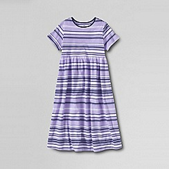 Lands' End - Purple little girls' short sleeve gathered jersey dress