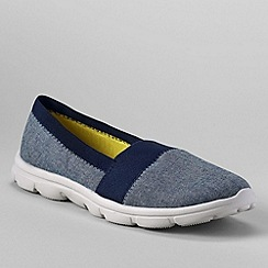 Lands' End - Blue women's wide alpargata slip-on shoes