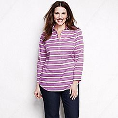 Lands' End - Purple women's plus striped three-quarter sleeve cotton lawn shirt