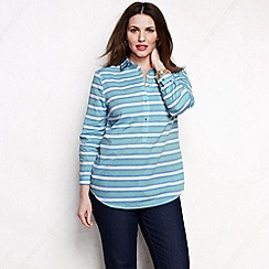 Lands' End - Green women's plus striped three-quarter sleeve cotton lawn shirt